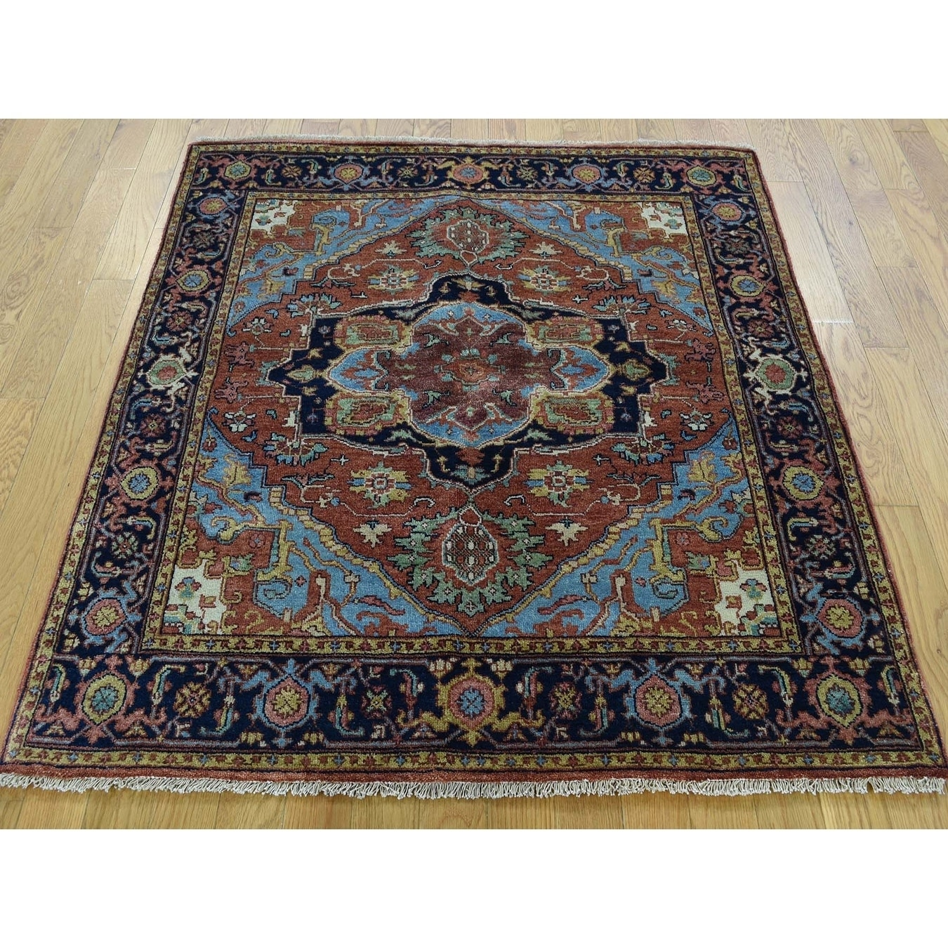 Hand Knotted Red Heriz with Wool Oriental Rug - 41 x 42