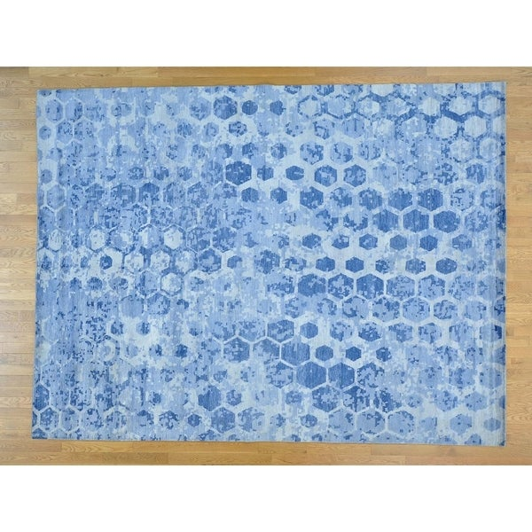 Hand Knotted Blue Modern & Contemporary with Art Silk Oriental Rug