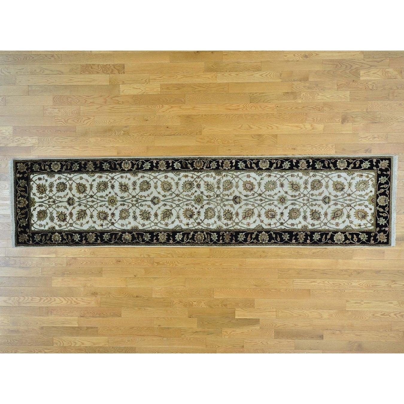 Hand Knotted Ivory Rajasthan with Wool & Silk Oriental Rug