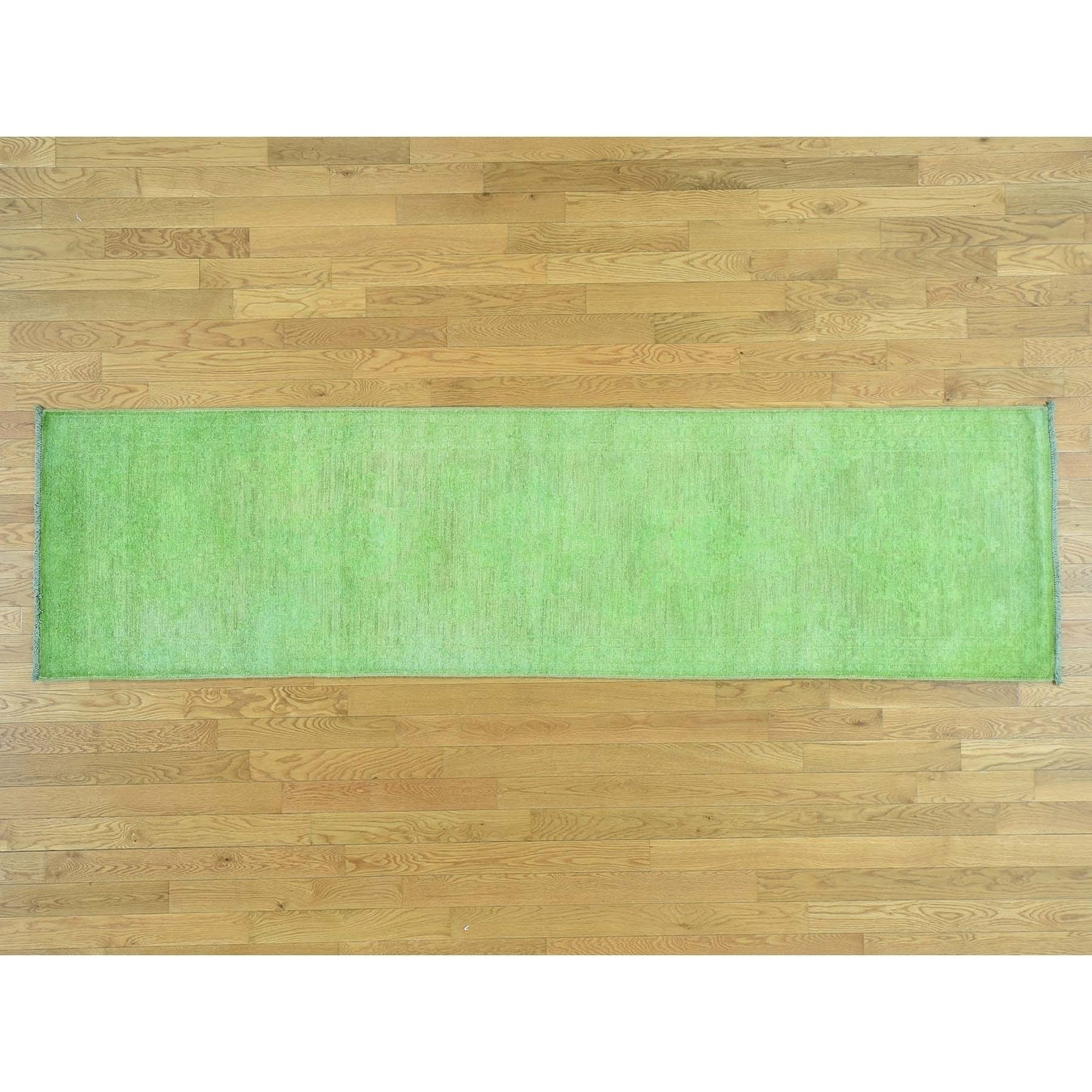 Hand Knotted Green Overdyed & Vintage with Wool Oriental Rug - 28 x 910