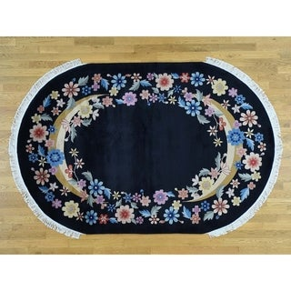 Hand Knotted Black Modern & Contemporary with Wool Oriental Rug - 6' x 9'