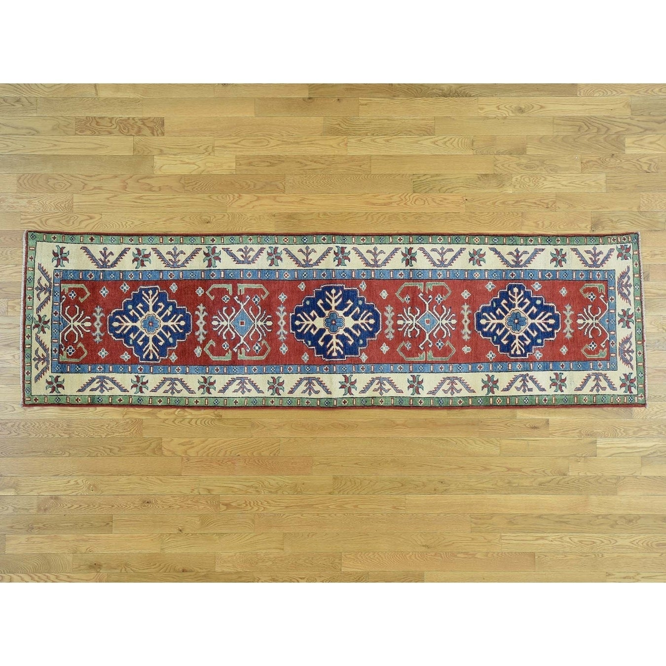 Hand Knotted Red Kazak with Wool Oriental Rug - 29 x 99