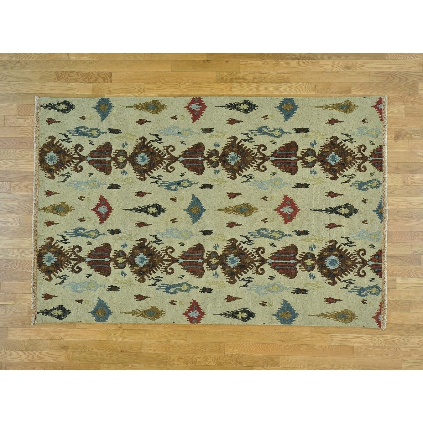 Hand Knotted Beige Flat Weave with Wool Oriental Rug - 56 x 83