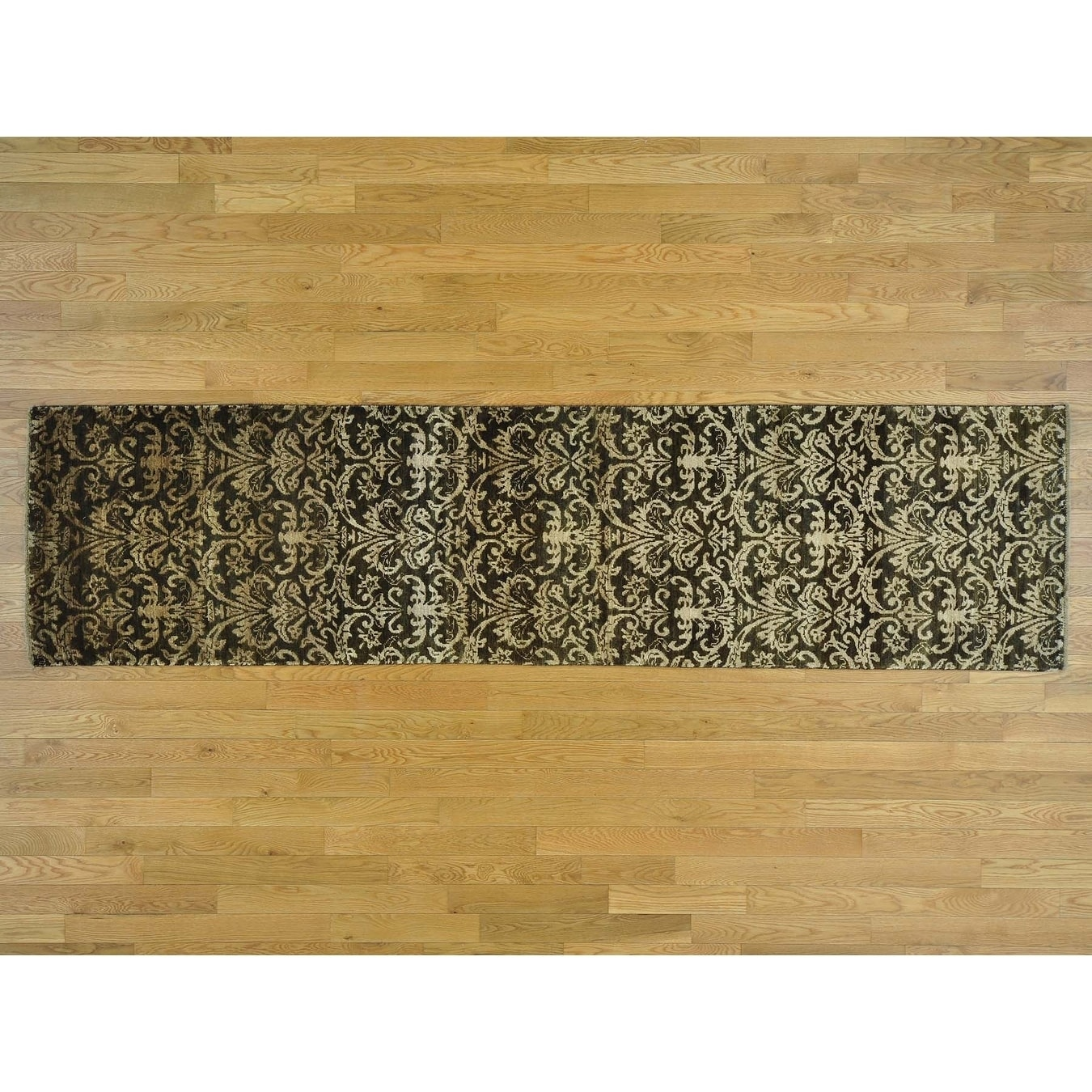 Hand Knotted Brown Modern & Contemporary with Wool & Silk Oriental Rug - 26 x 98