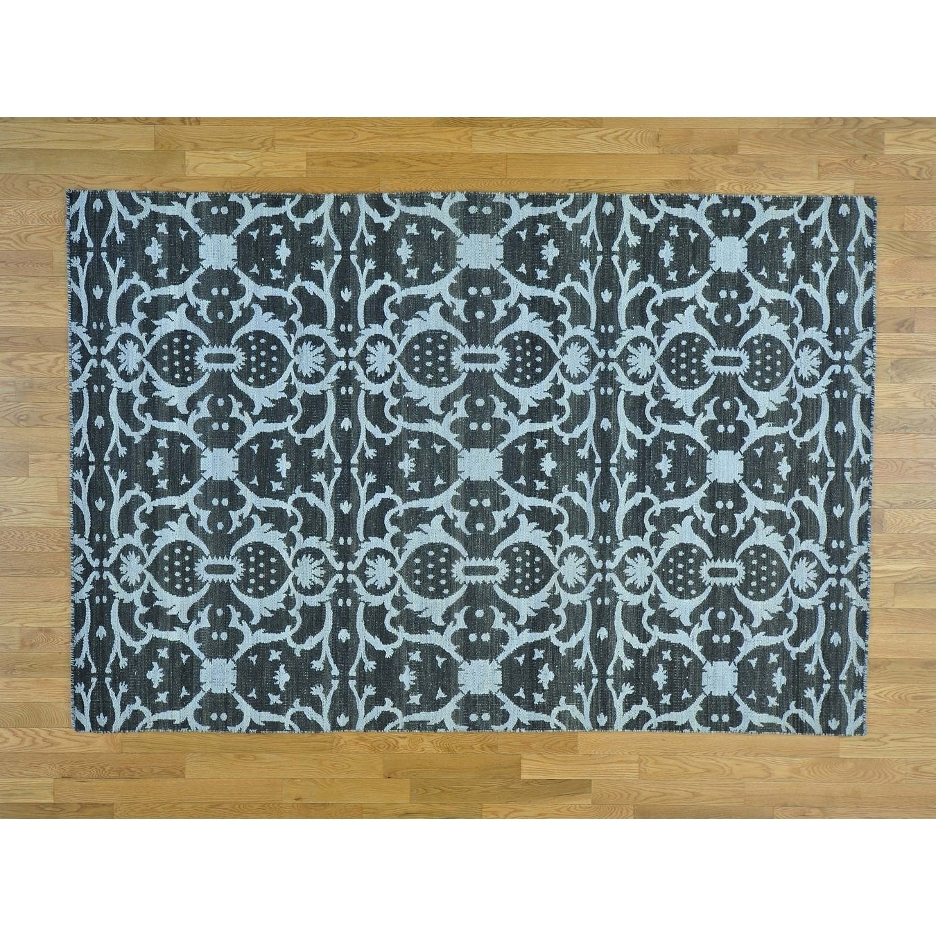 Hand Knotted Black Flat Weave with Cotton Oriental Rug - 510 x 88