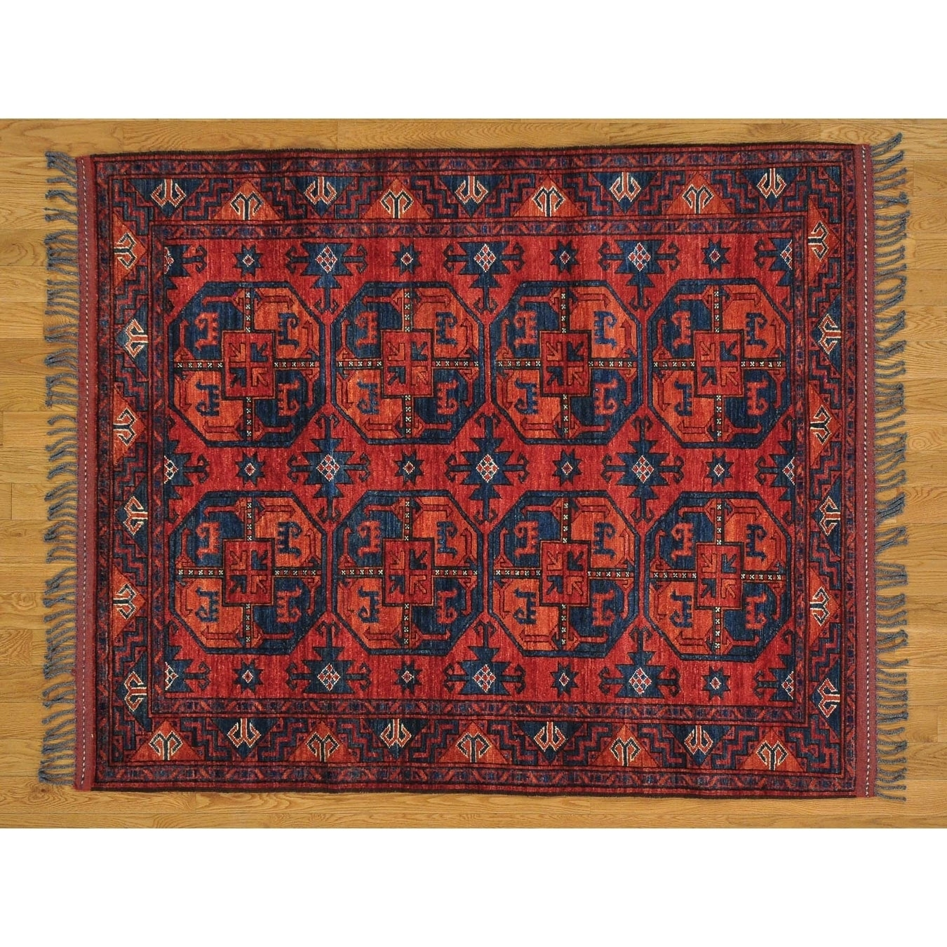 Hand Knotted Red Tribal & Geometric with Wool Oriental Rug - 410 x 6