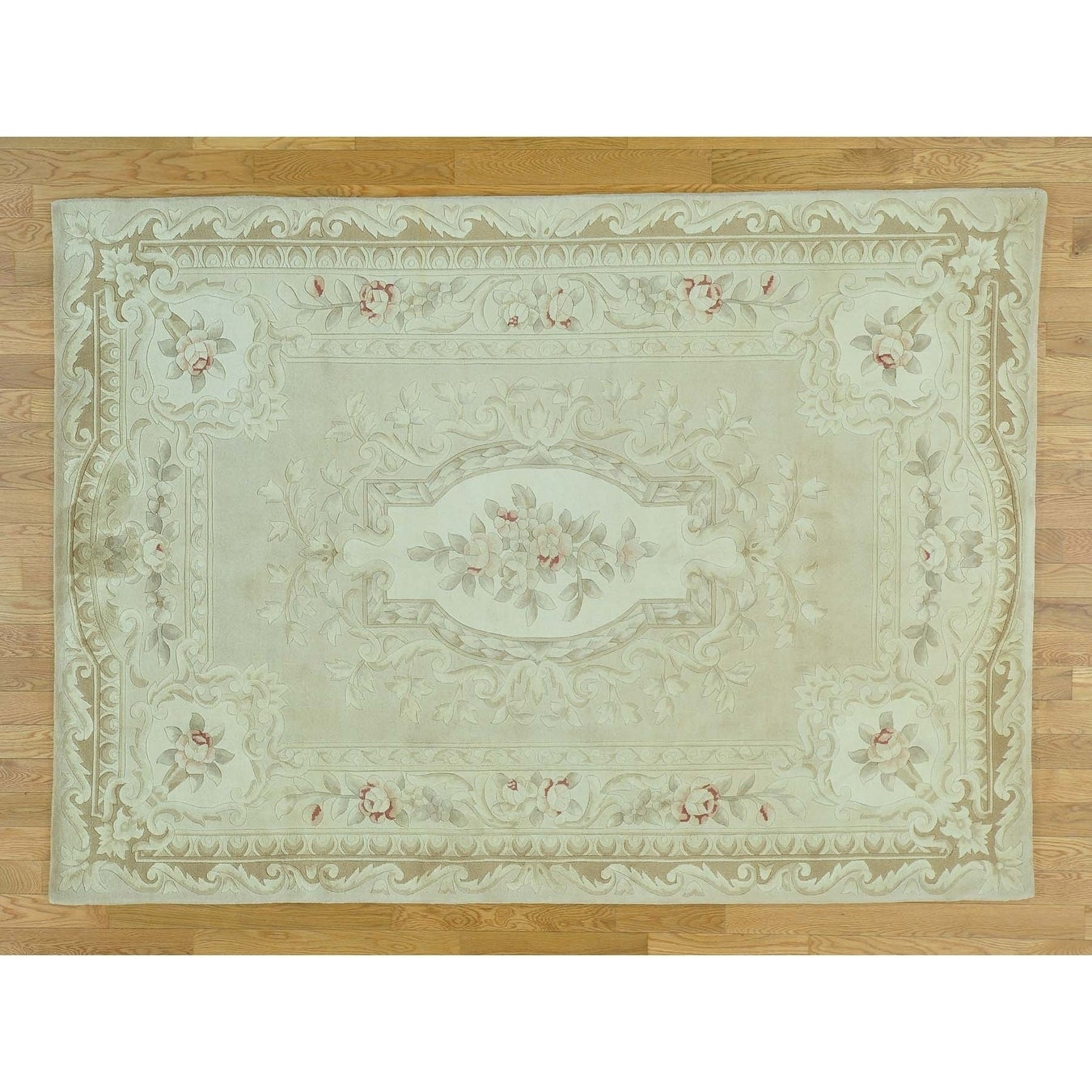 Hand Knotted Beige European with Wool & Silk Oriental Rug - 58 x 710