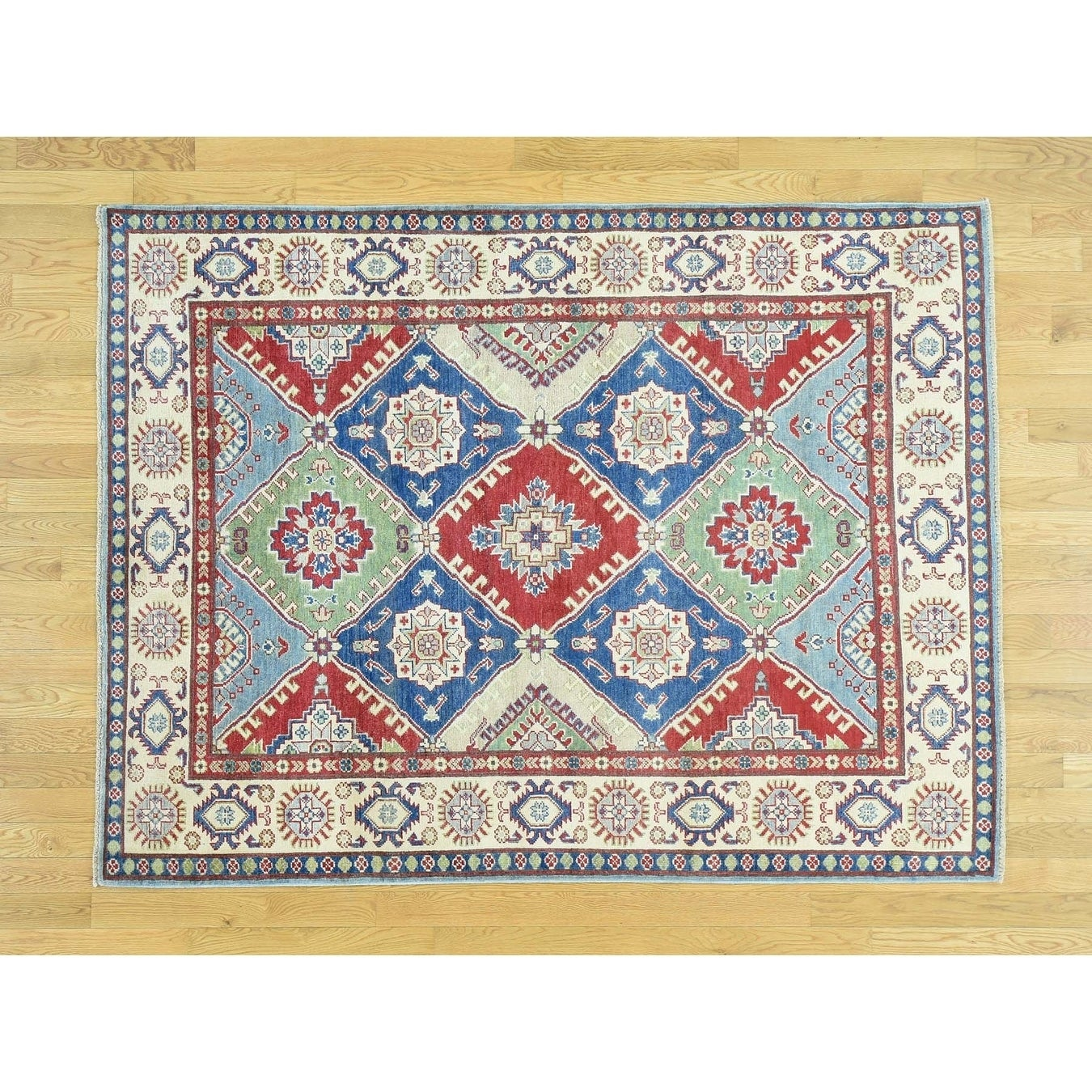 Hand Knotted Multicolored Kazak with Wool Oriental Rug - 54 x 71