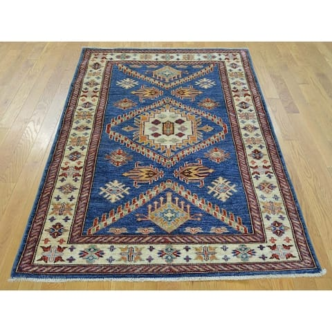 Hand Knotted Blue Kazak with Wool Oriental Rug - 3'2 x 5'