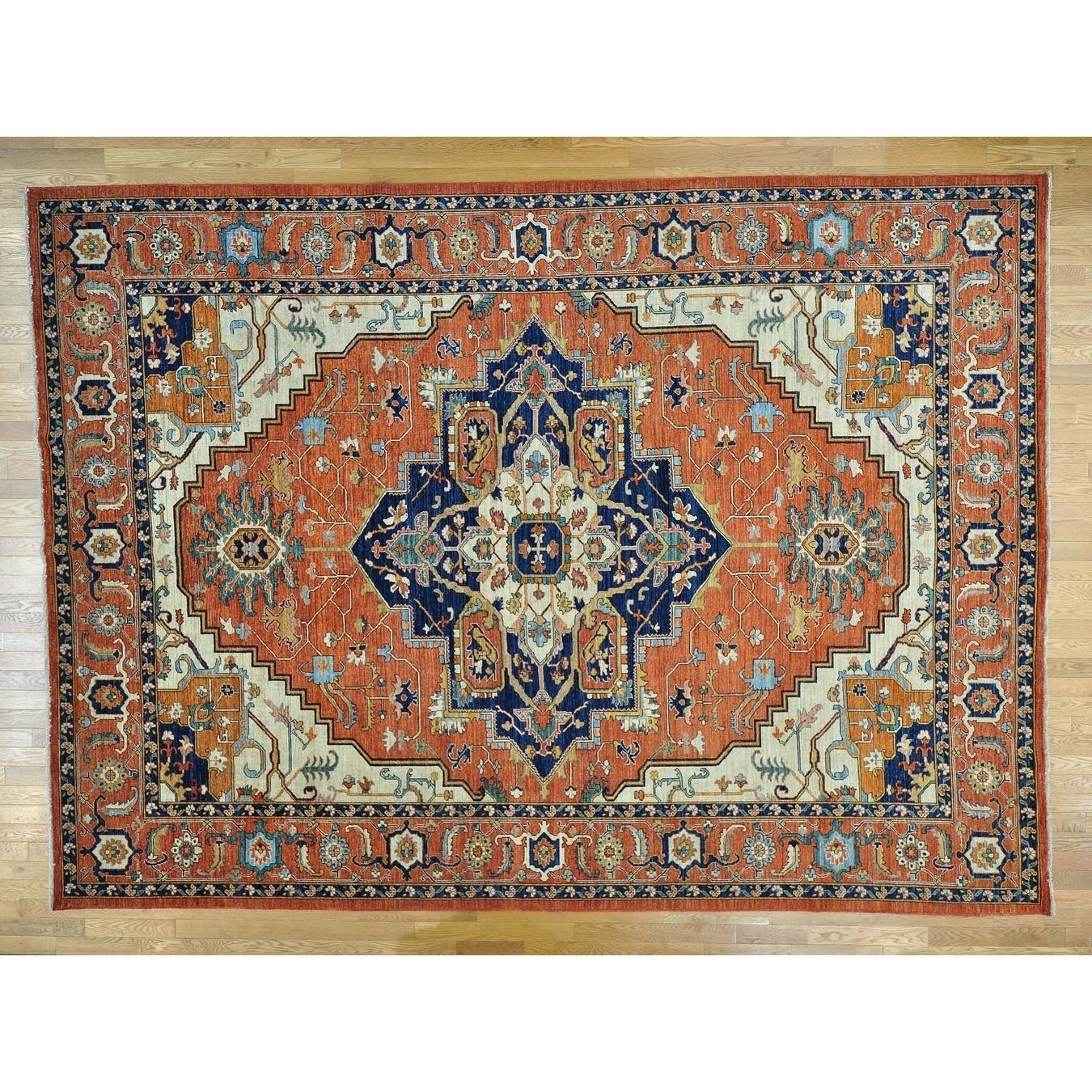 Hand Knotted Red Heriz with Wool Oriental Rug - 102 x 14