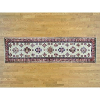 Hand Knotted Ivory Kazak with Wool Oriental Rug - 2'10 x 10'