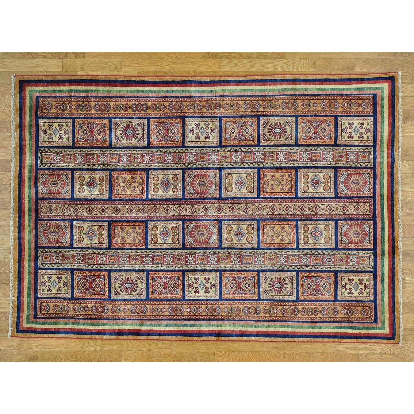 Hand Knotted Multicolored Kazak with Wool Oriental Rug - 58 x 82