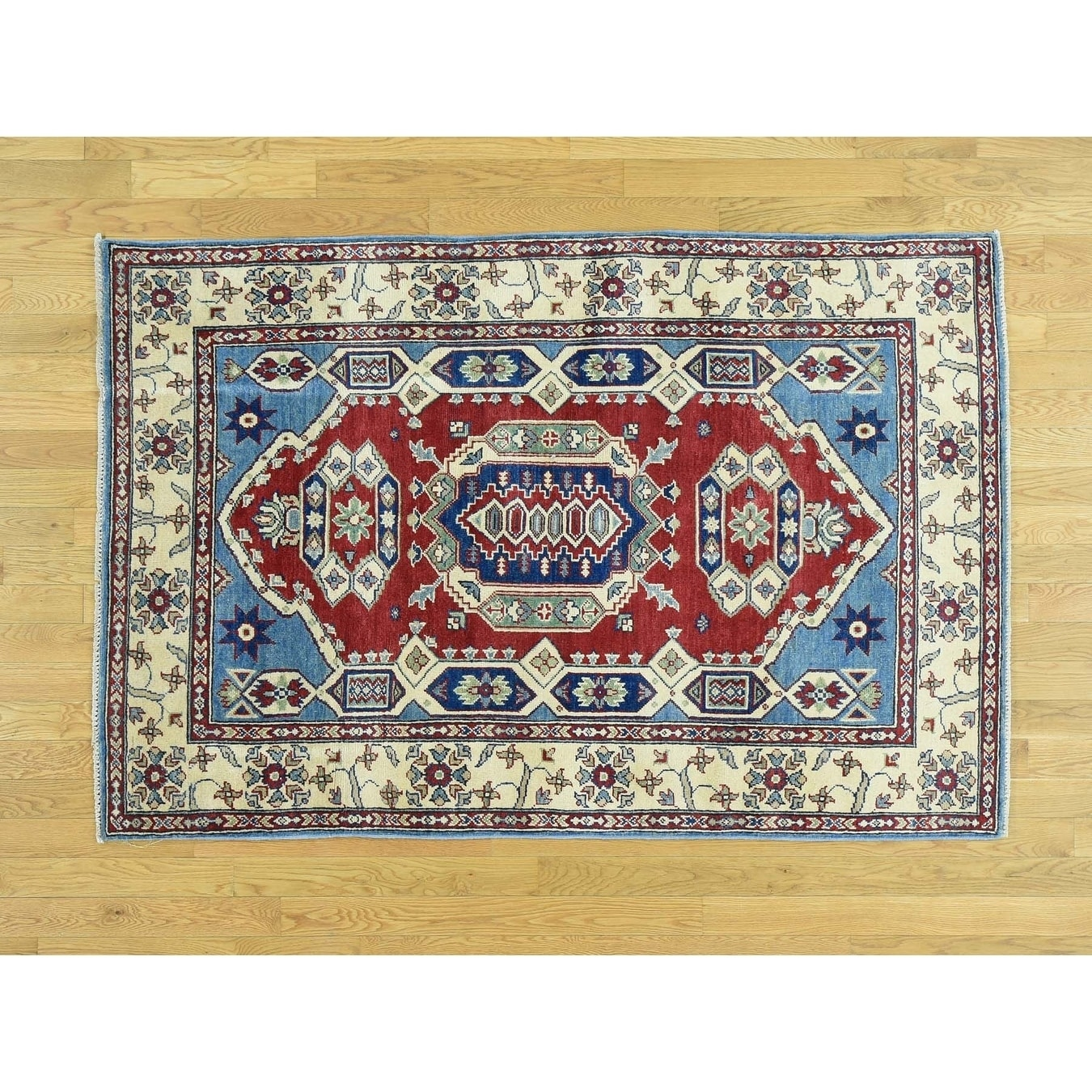 Hand Knotted Red Kazak with Wool Oriental Rug - 42 x 64
