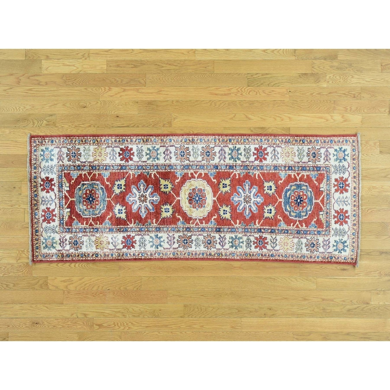 Hand Knotted Red Kazak with Wool Oriental Rug - 26 x 66