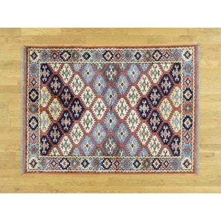 Hand Knotted Red Tribal & Geometric with Wool Oriental Rug - 4'2 x 5'8