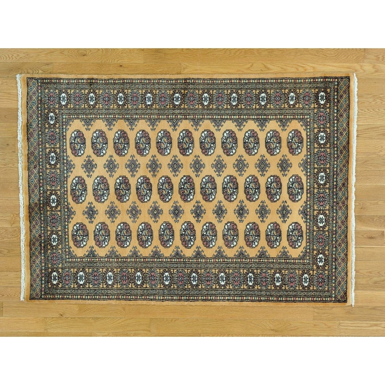 Hand Knotted Beige Tribal & Geometric with Wool Oriental Rug - 42 x 6