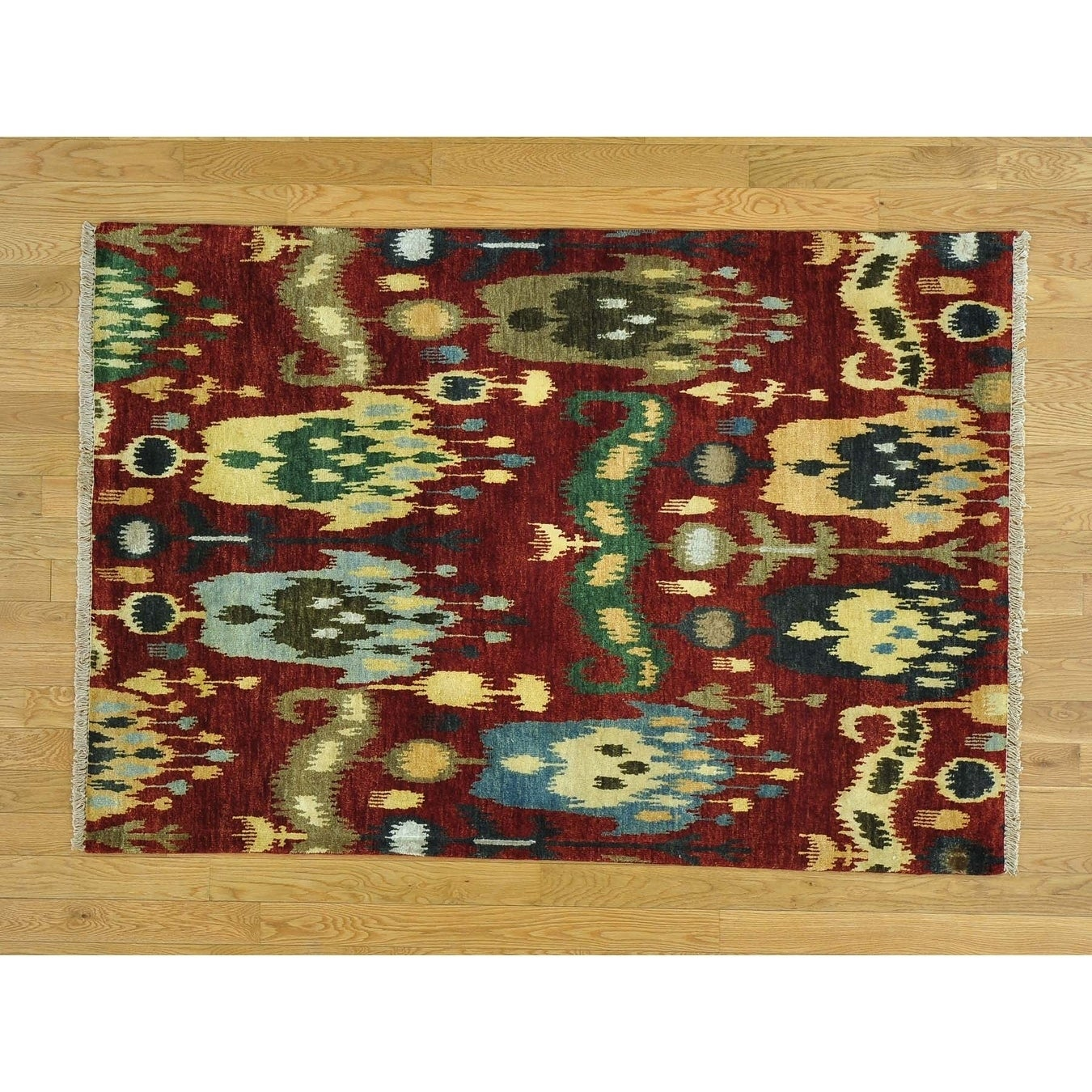 Hand Knotted Red Ikat And Suzani Design with Wool Oriental Rug - 41 x 6