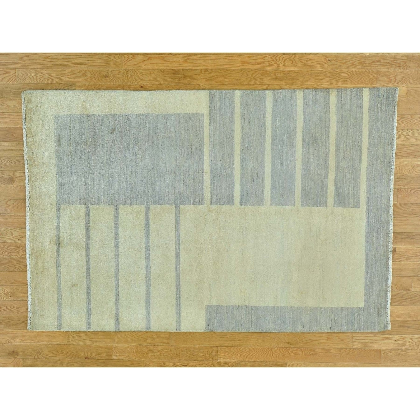 Hand Knotted Beige Modern & Contemporary with Wool Oriental Rug - 46 x 7