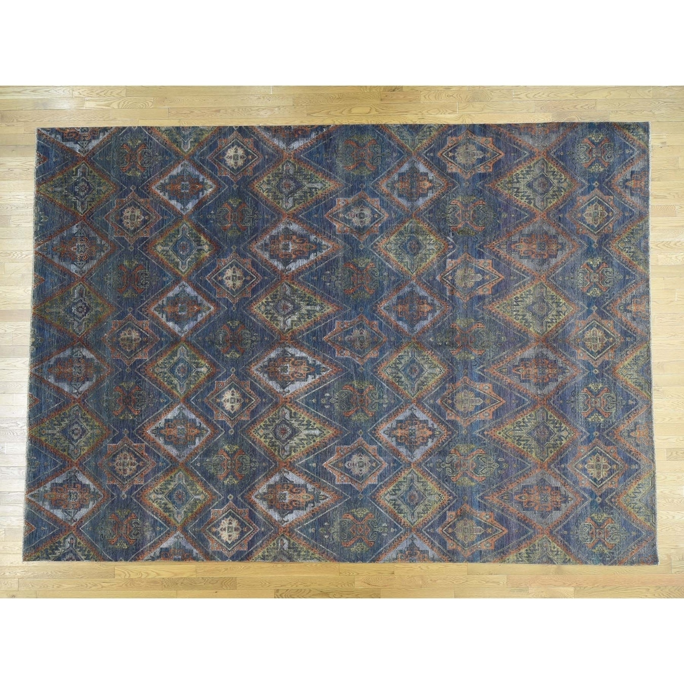 Hand Knotted Purple Ikat And Suzani Design with Wool & Silk Oriental Rug