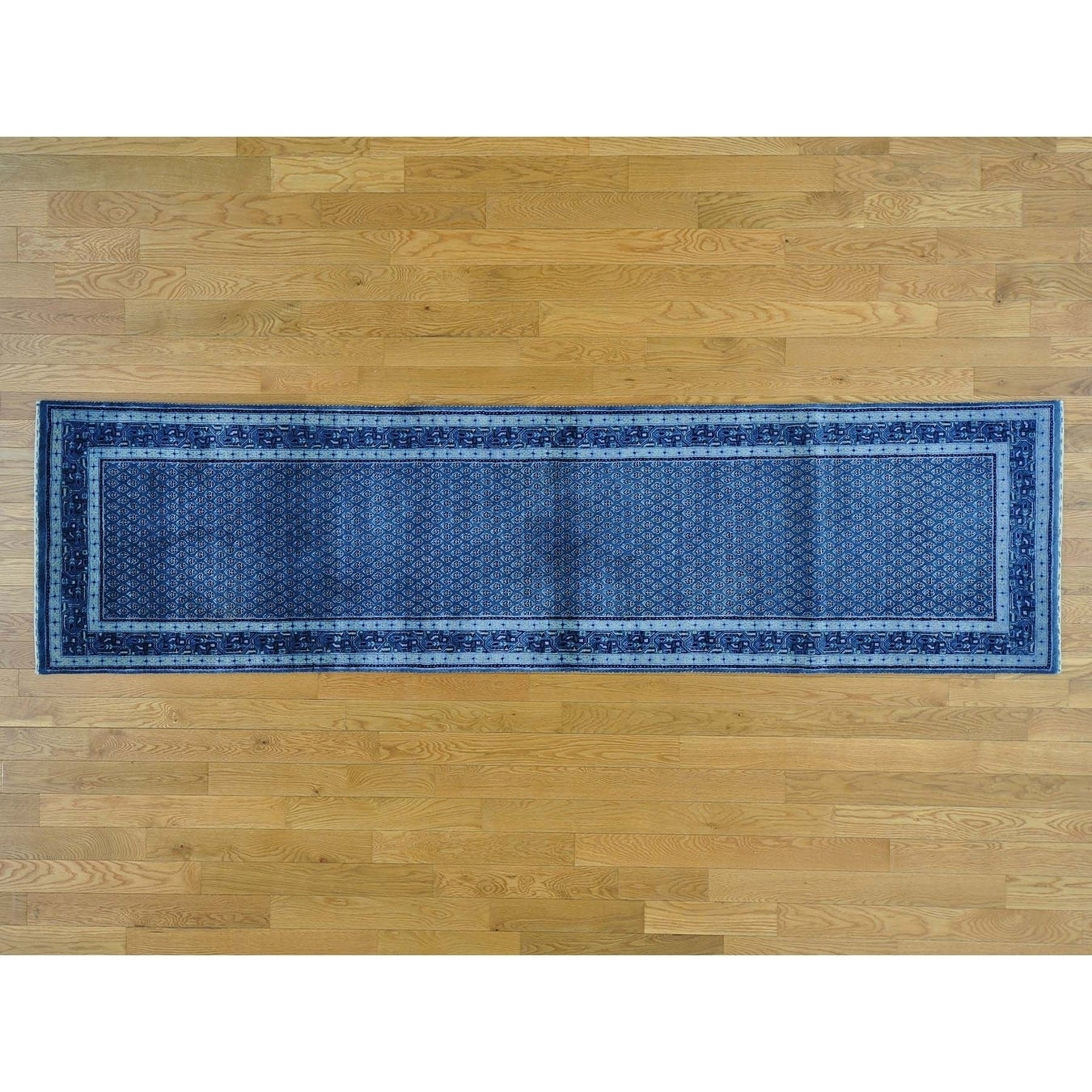 Hand Knotted Blue Overdyed & Vintage with Wool & Silk Oriental Rug - 27 x 10