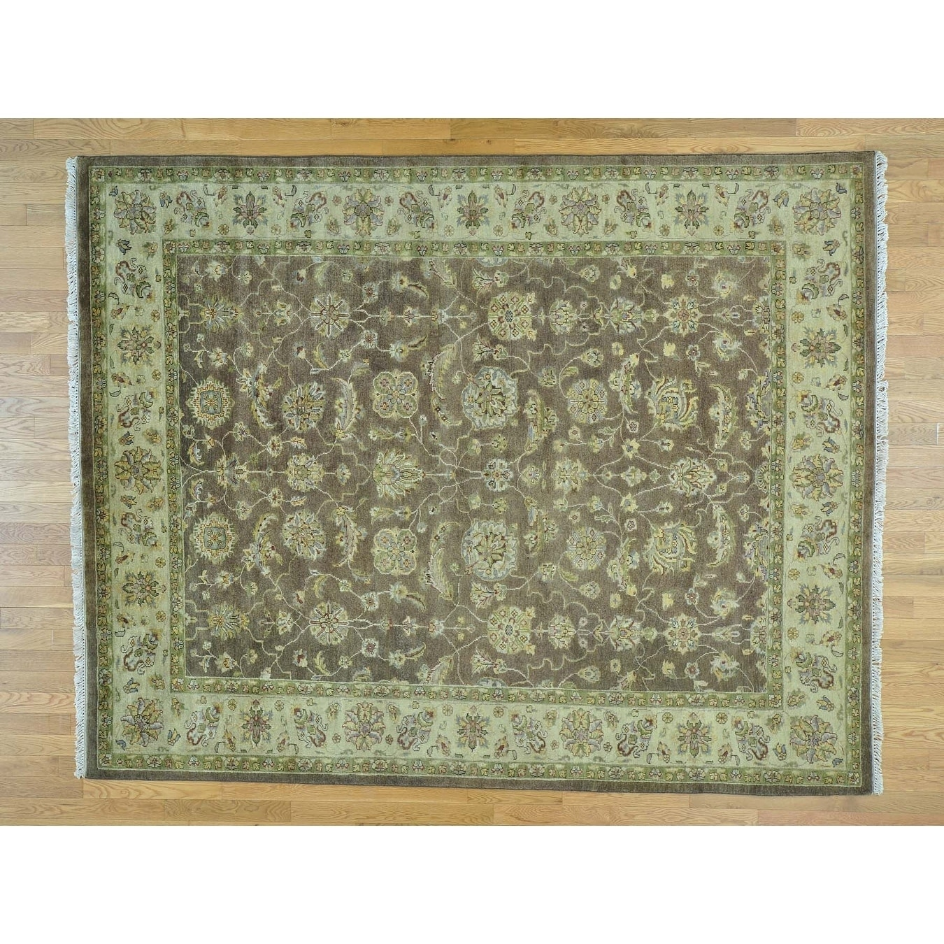 Hand Knotted Brown Clearance with Wool Oriental Rug - 8 x 10