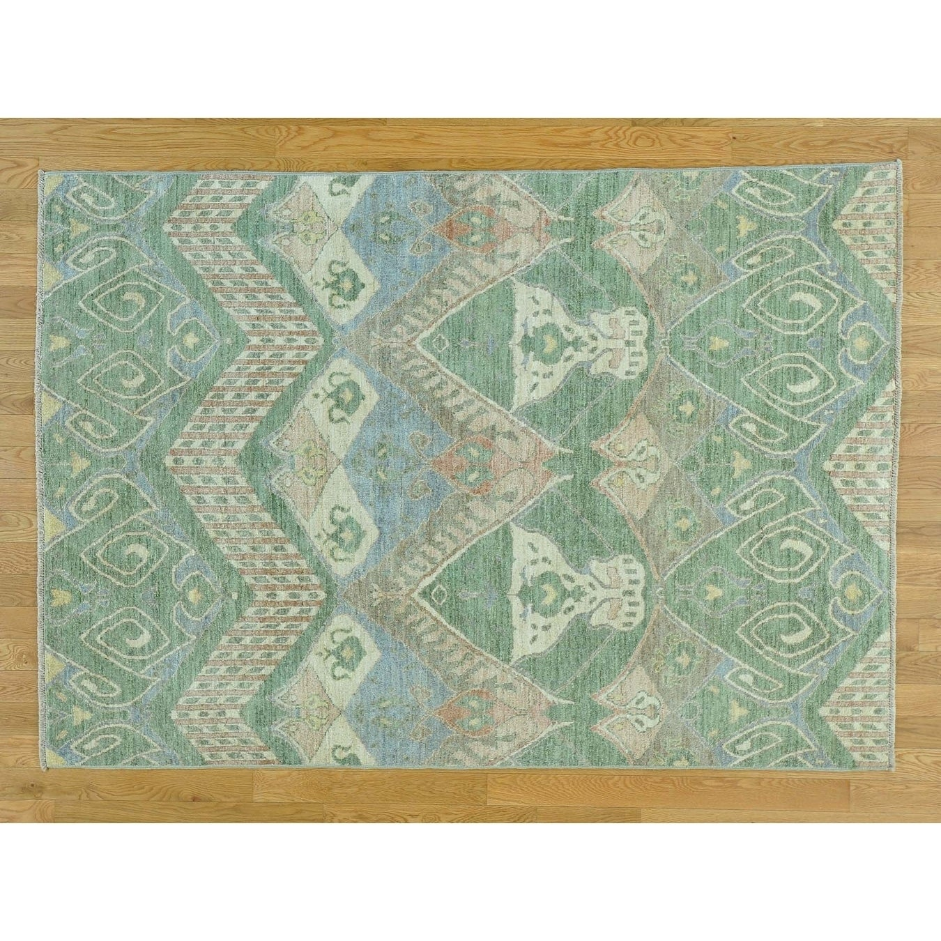 Hand Knotted Multicolored Ikat And Suzani Design with Wool Oriental Rug - 51 x 71