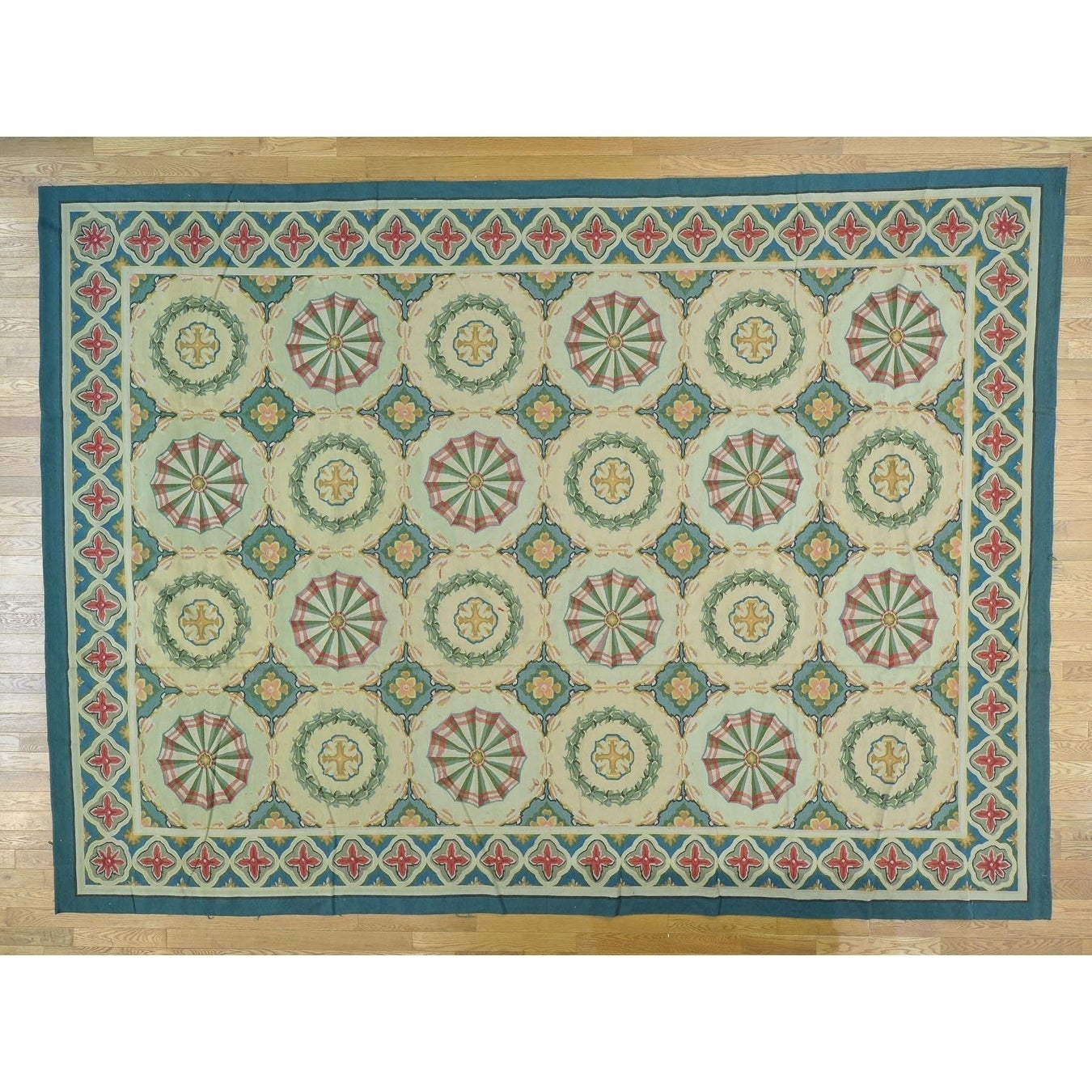 Hand Knotted Multicolored Clearance with Wool Oriental Rug - 102 x 1310