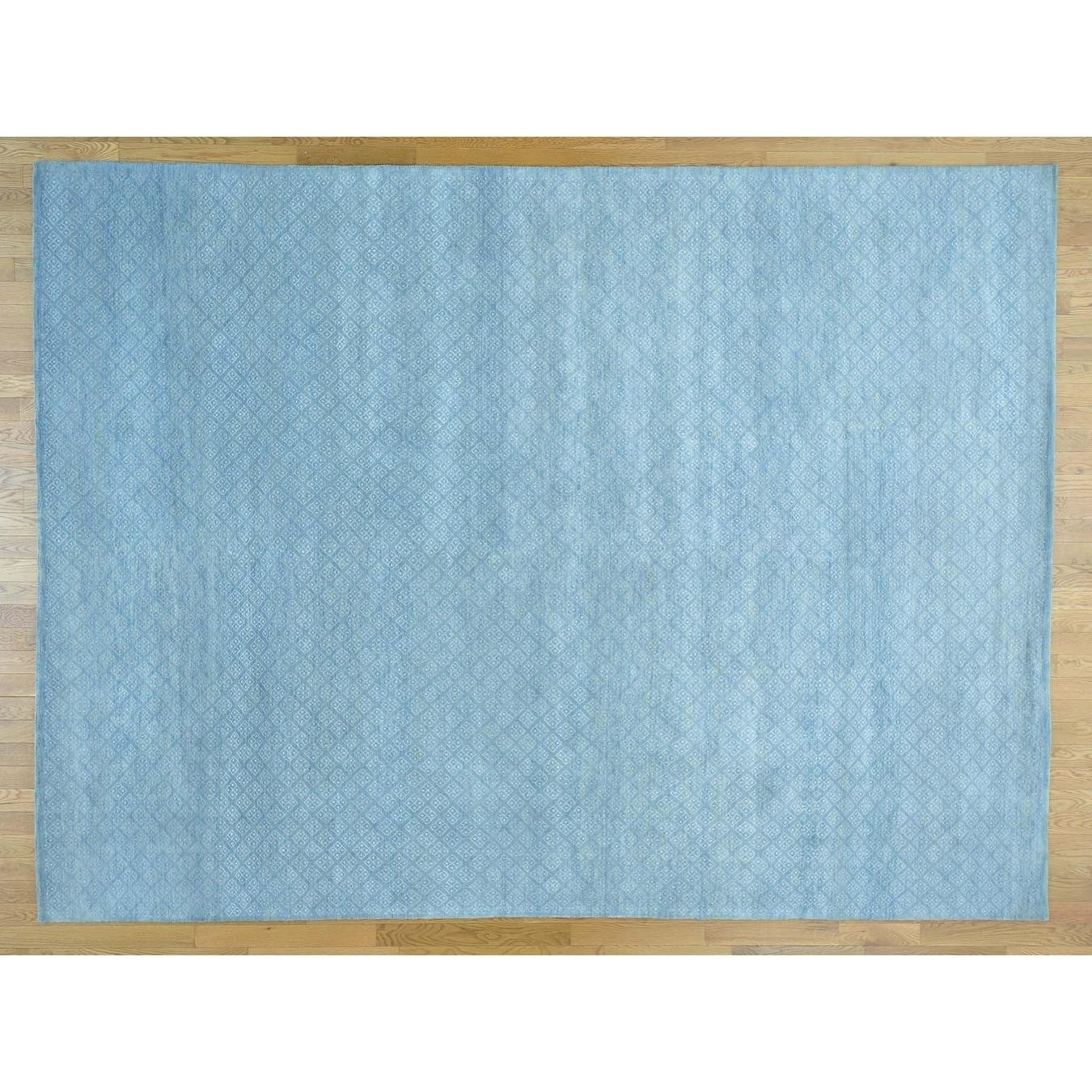 Hand Knotted Blue Modern & Contemporary with Wool & Silk Oriental Rug - 9 x 122