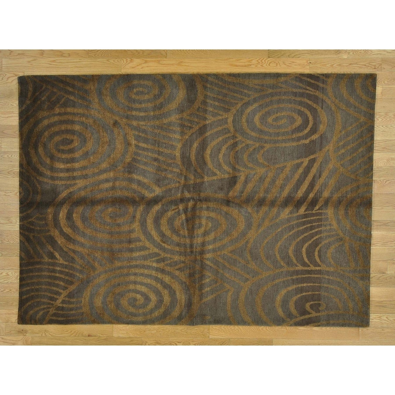 Hand Knotted Brown Modern & Contemporary with Wool Oriental Rug - 52 x 73