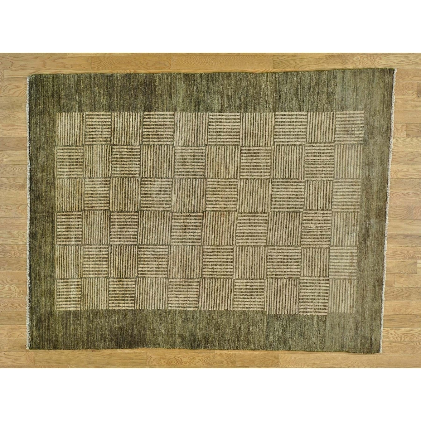 Hand Knotted Beige Modern & Contemporary with Wool Oriental Rug - 58 x 8