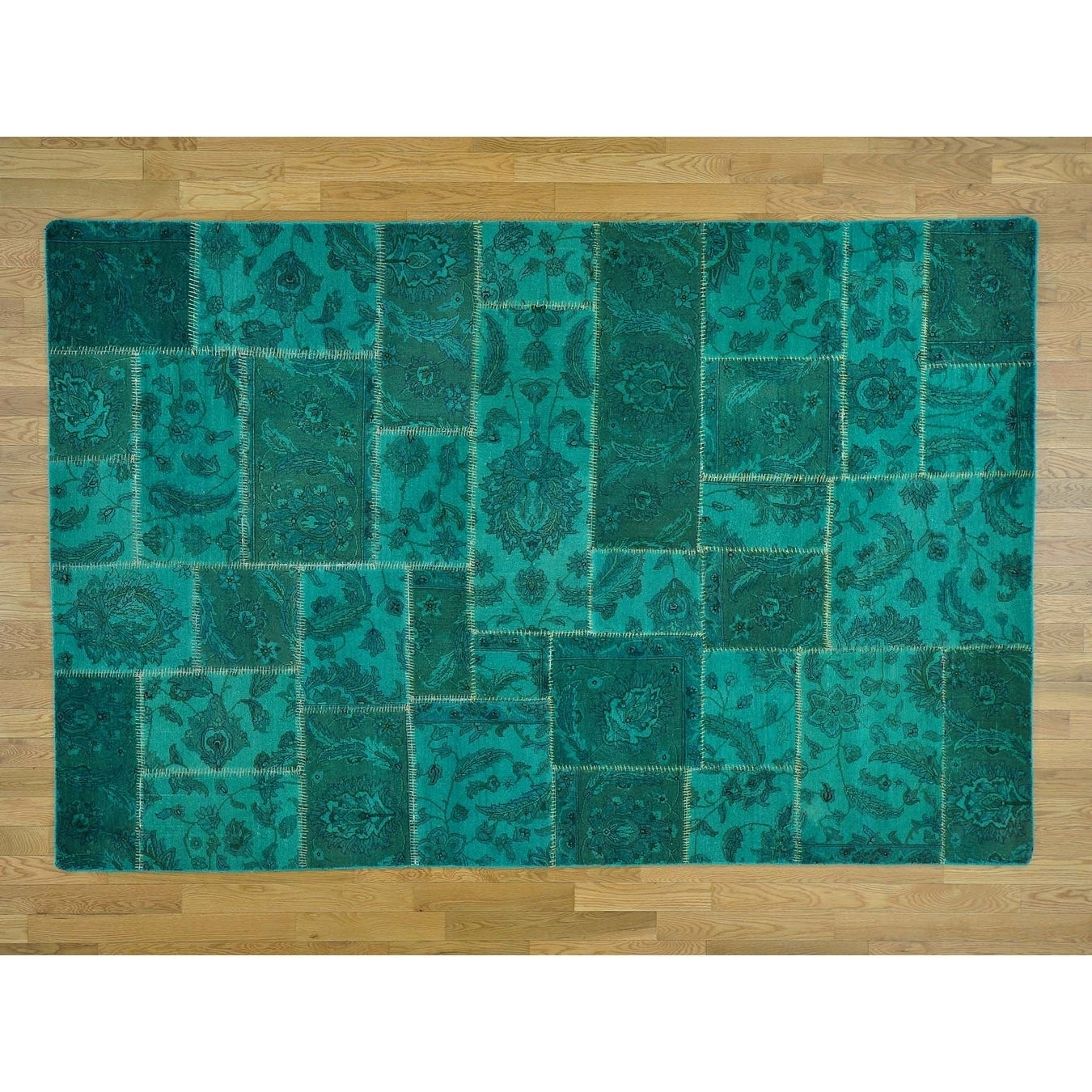 Hand Knotted Teal Overdyed & Vintage with Wool Oriental Rug - 6 x 92