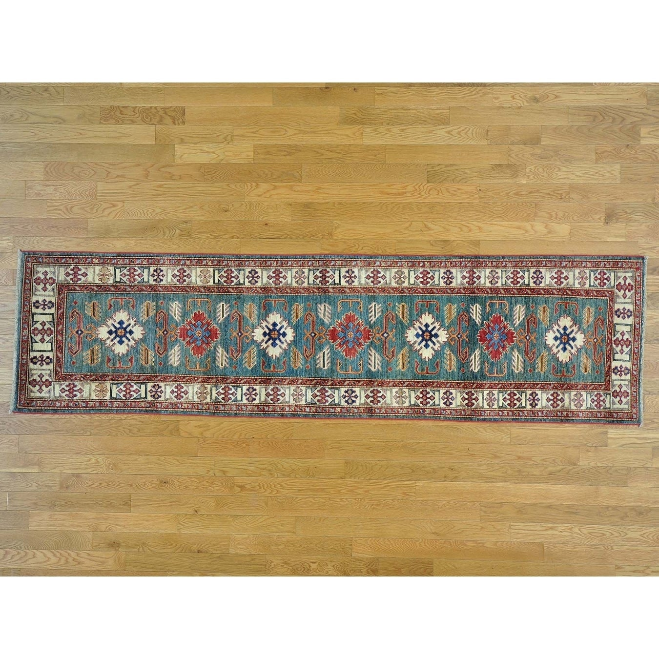 Hand Knotted Teal Kazak with Wool Oriental Rug - 28 x 102