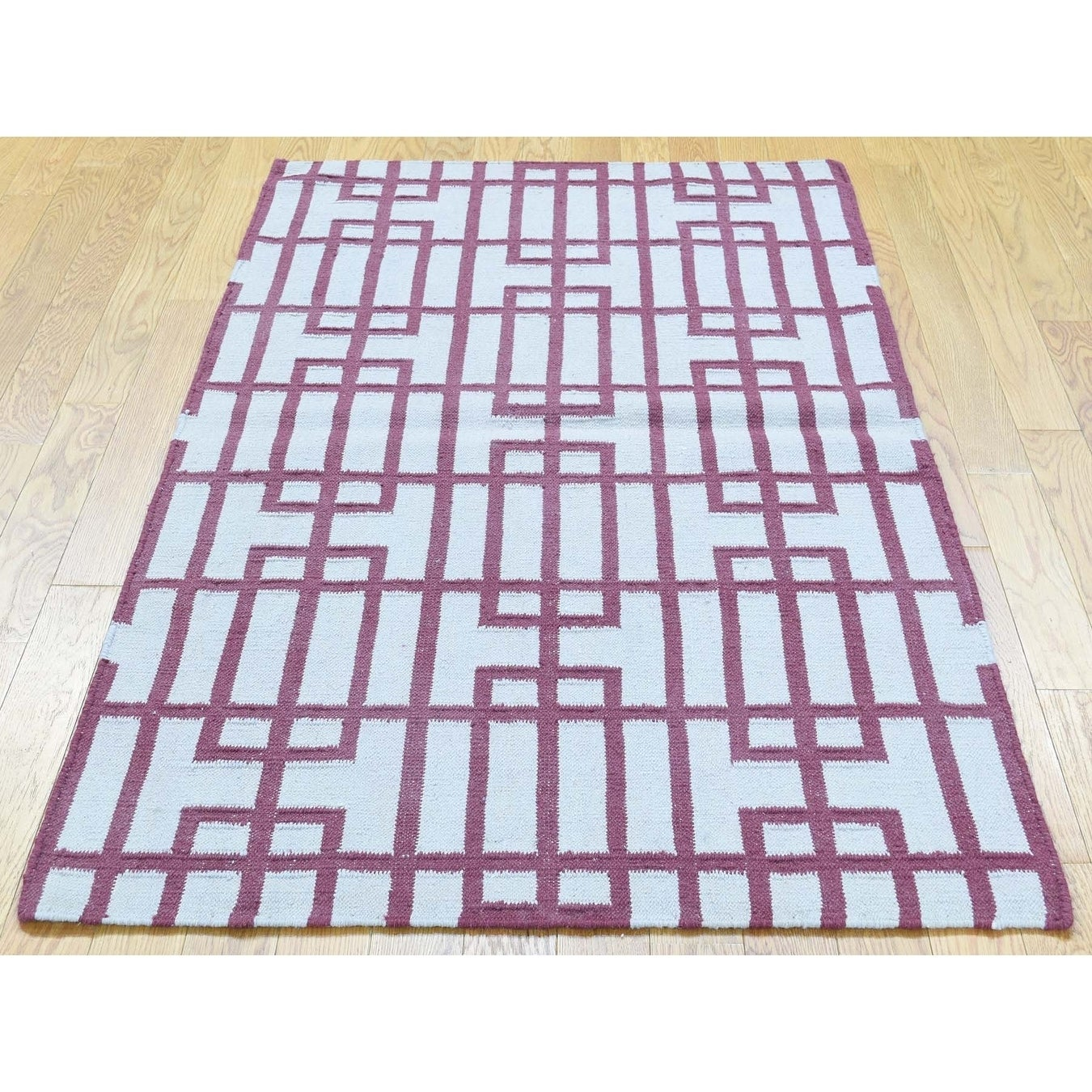 Hand Knotted Ivory Flat Weave with Wool Oriental Rug - 3 x 54