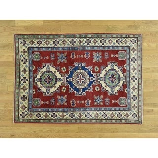 Hand Knotted Red Kazak with Wool Oriental Rug - 4'1 x 5'9