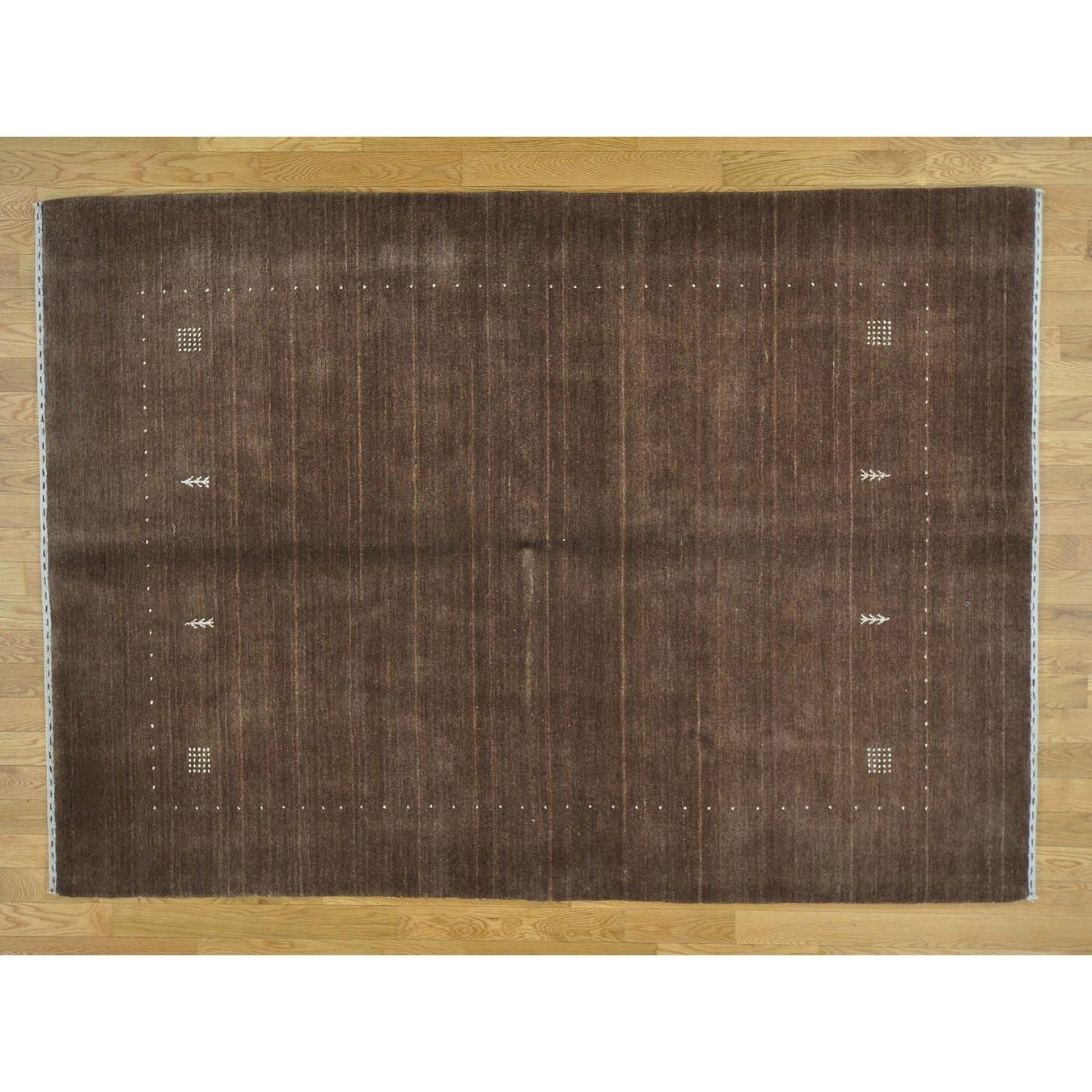 Hand Knotted Brown Modern & Contemporary with Wool Oriental Rug - 57 x 710