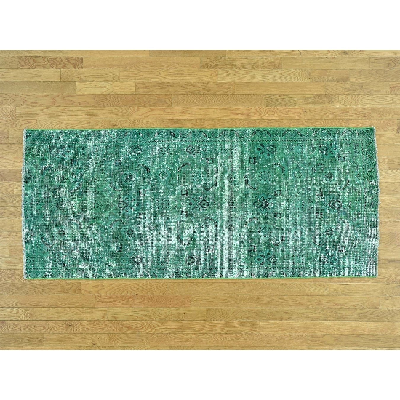 Hand Knotted Green Overdyed & Vintage with Wool Oriental Rug - 33 x 77