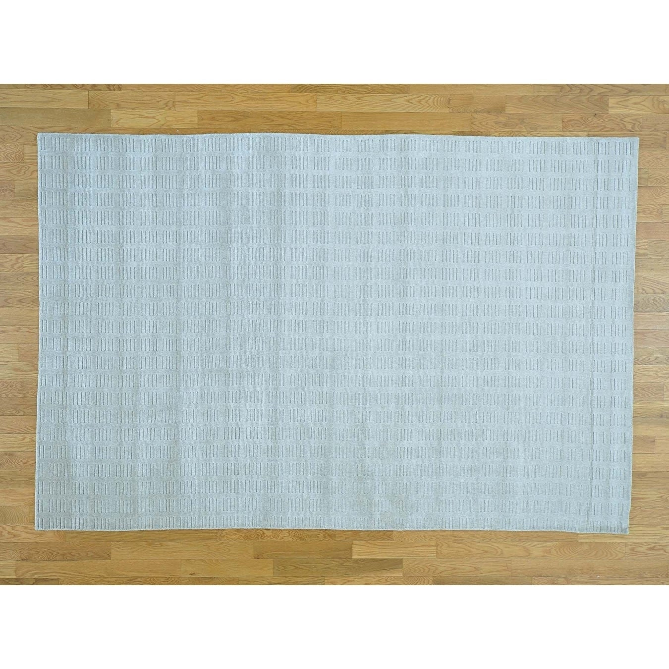 Hand Knotted Grey Modern & Contemporary with Wool & Silk Oriental Rug - 6 x 9
