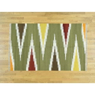 Hand Knotted Multicolored Flat Weave with Wool Oriental Rug - 5'1 x 8'1