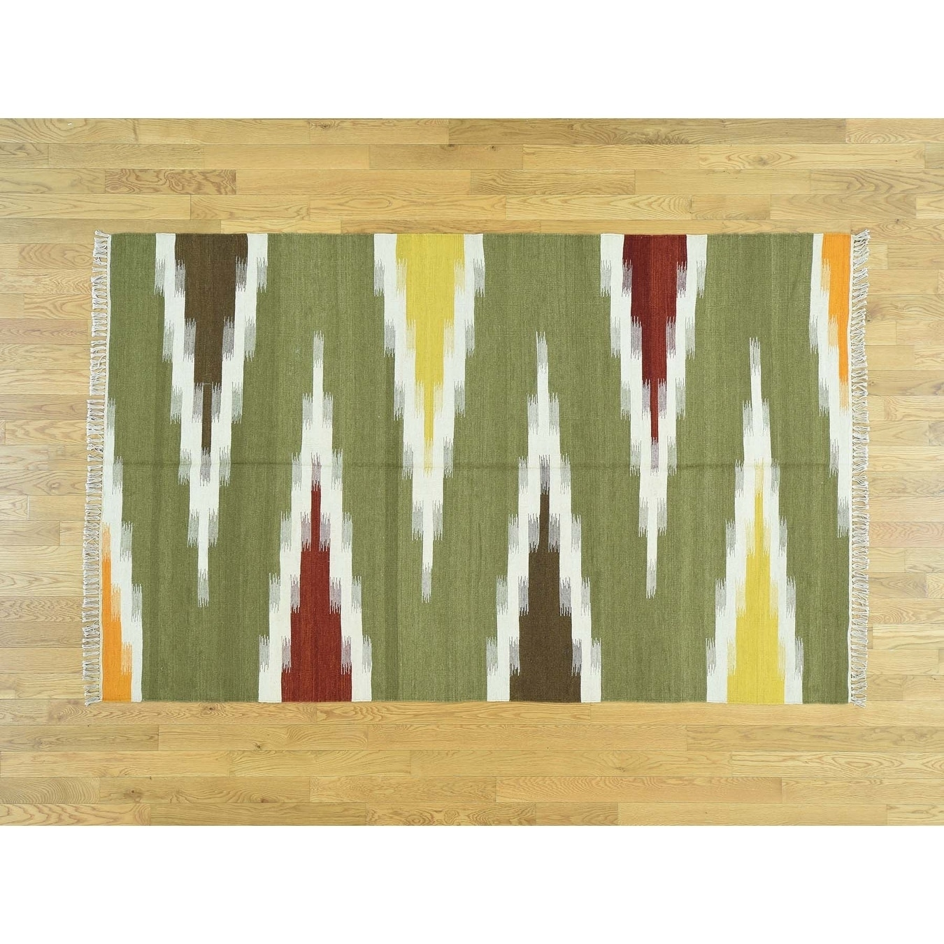 Hand Knotted Multicolored Flat Weave with Wool Oriental Rug - 51 x 81