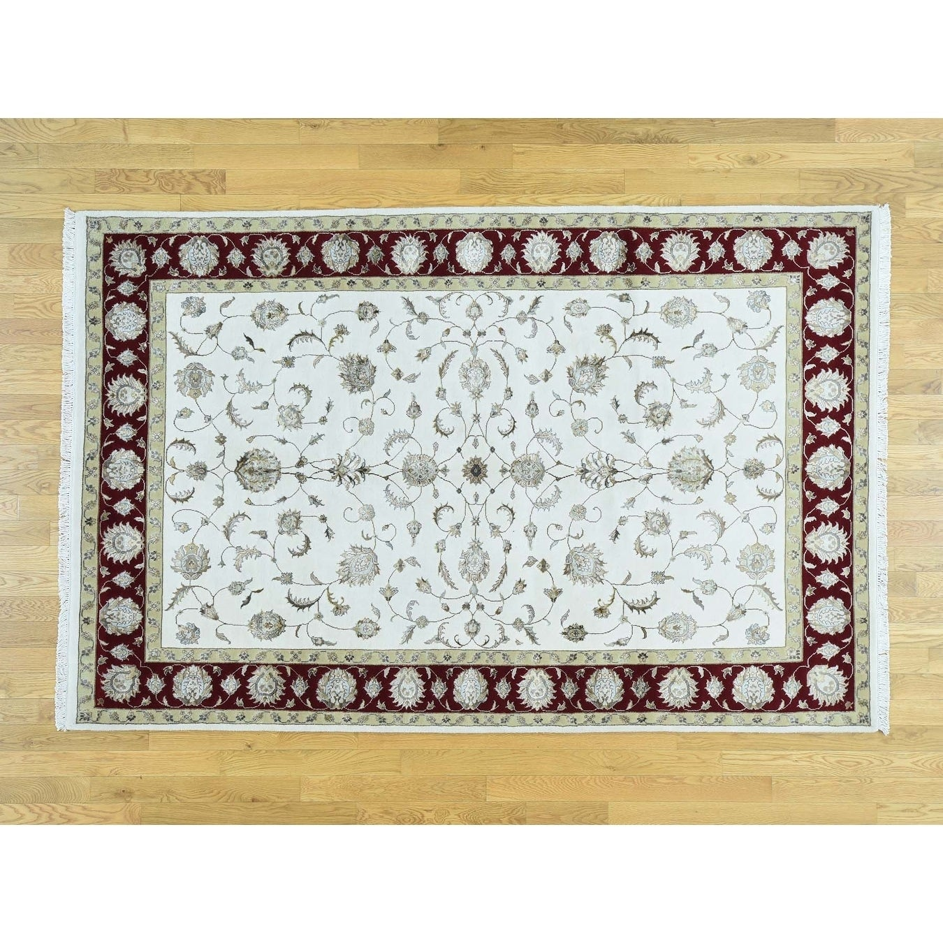Hand Knotted Red Rajasthan with Wool & Silk Oriental Rug - 57 x 88