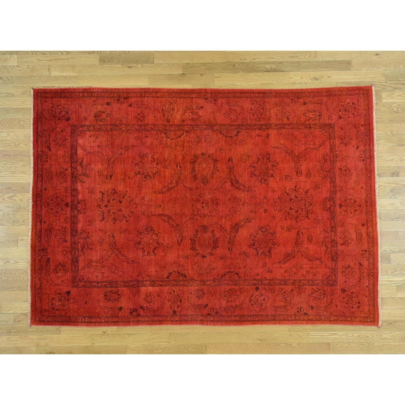 Hand Knotted Red Overdyed & Vintage with Wool Oriental Rug - 6 x 88