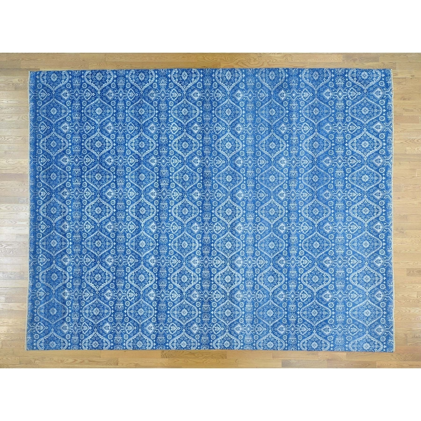 Hand Knotted Blue Ikat And Suzani Design with Wool & Silk Oriental Rug - 10 x 13