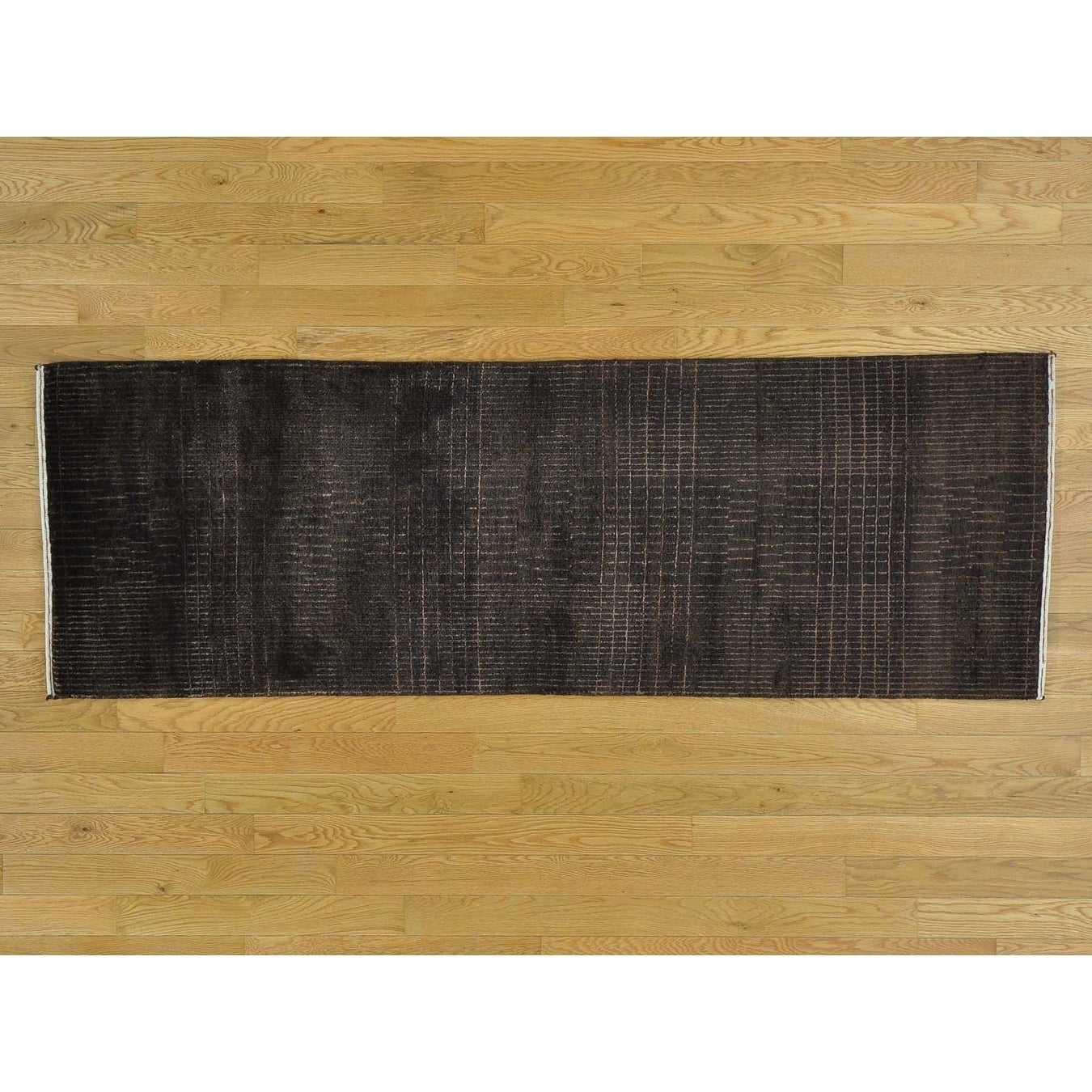 Hand Knotted Brown Modern & Contemporary with Wool & Silk Oriental Rug - 23 x 68