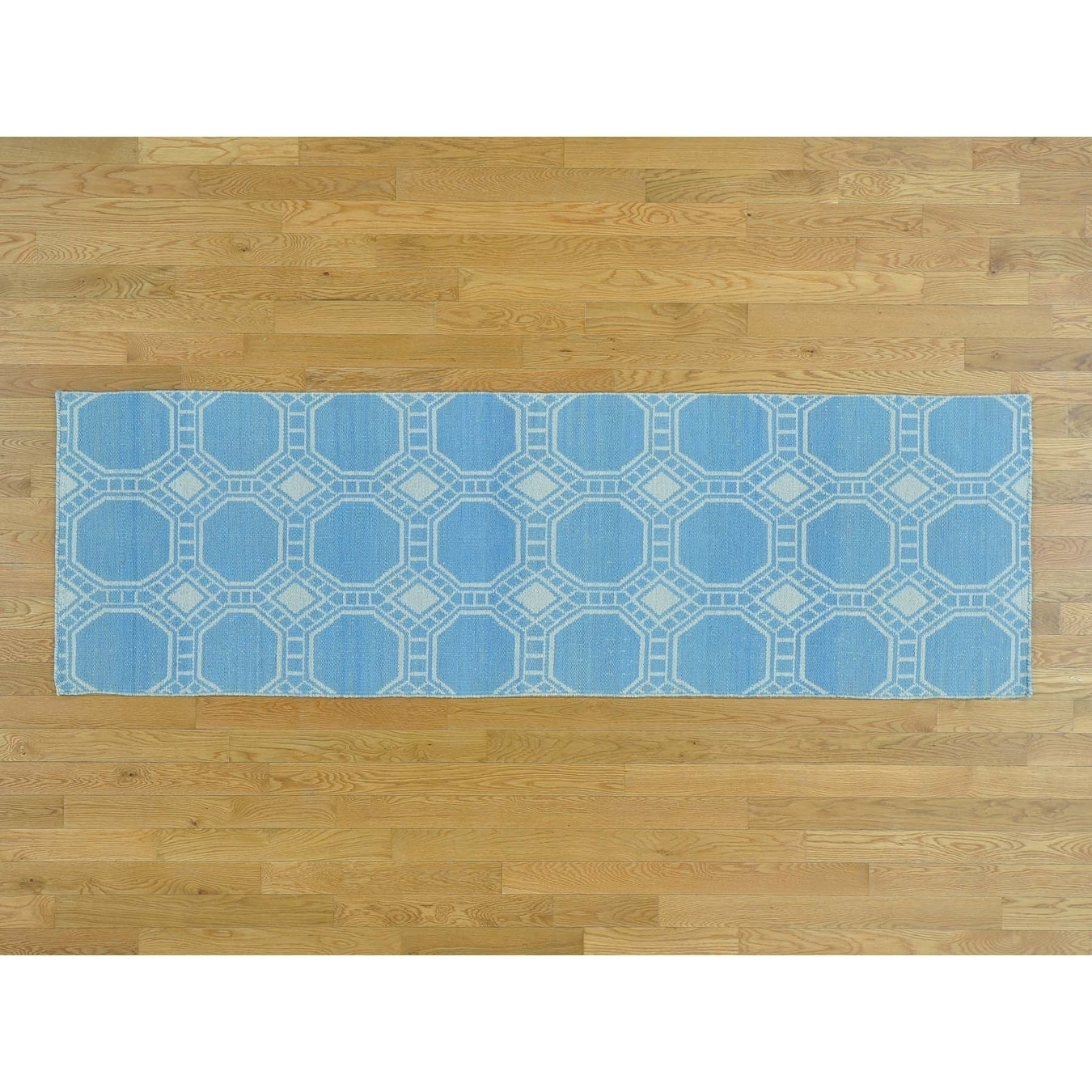 Hand Knotted Blue Flat Weave with Wool Oriental Rug - 27 x 710