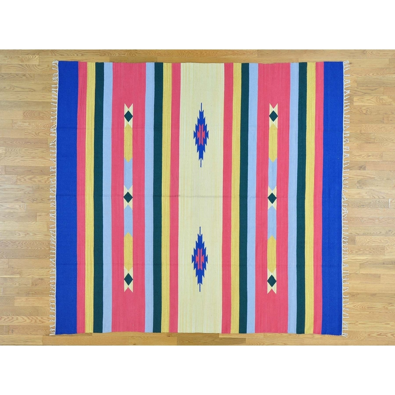 Hand Knotted Multicolored Flat Weave with Cotton Oriental Rug - 710 x 83