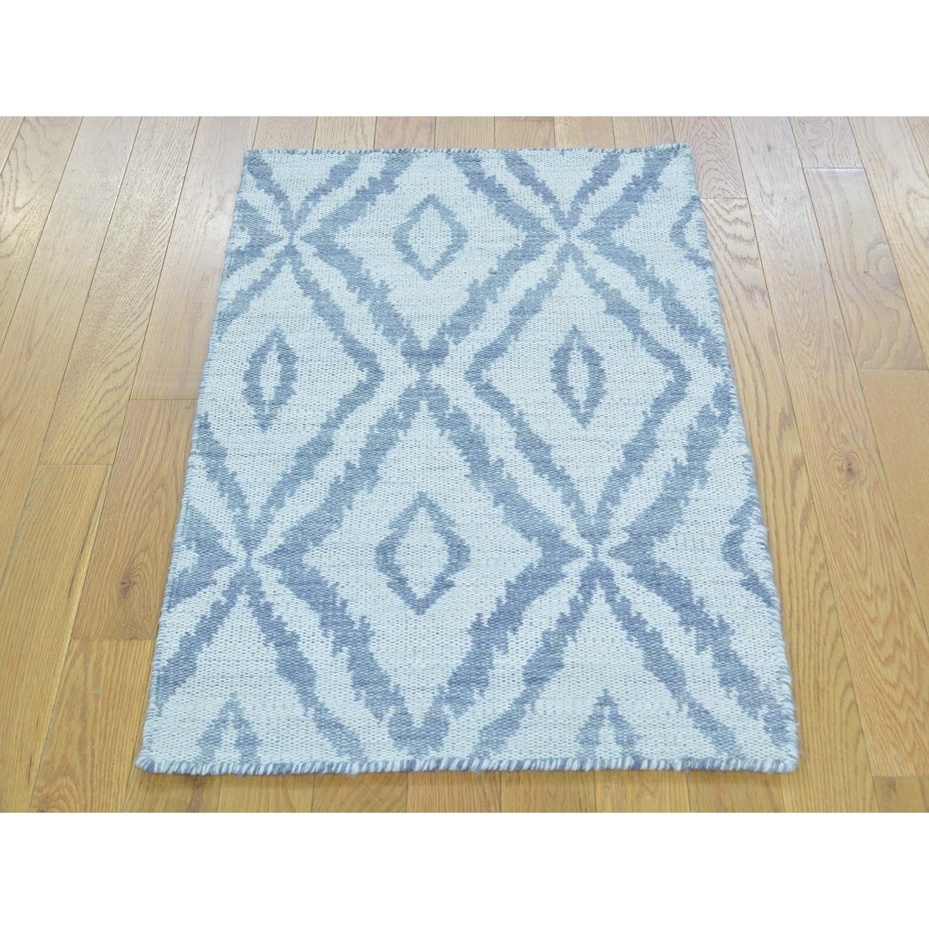 Hand Knotted Grey Flat Weave with Wool Oriental Rug - 2 x 33