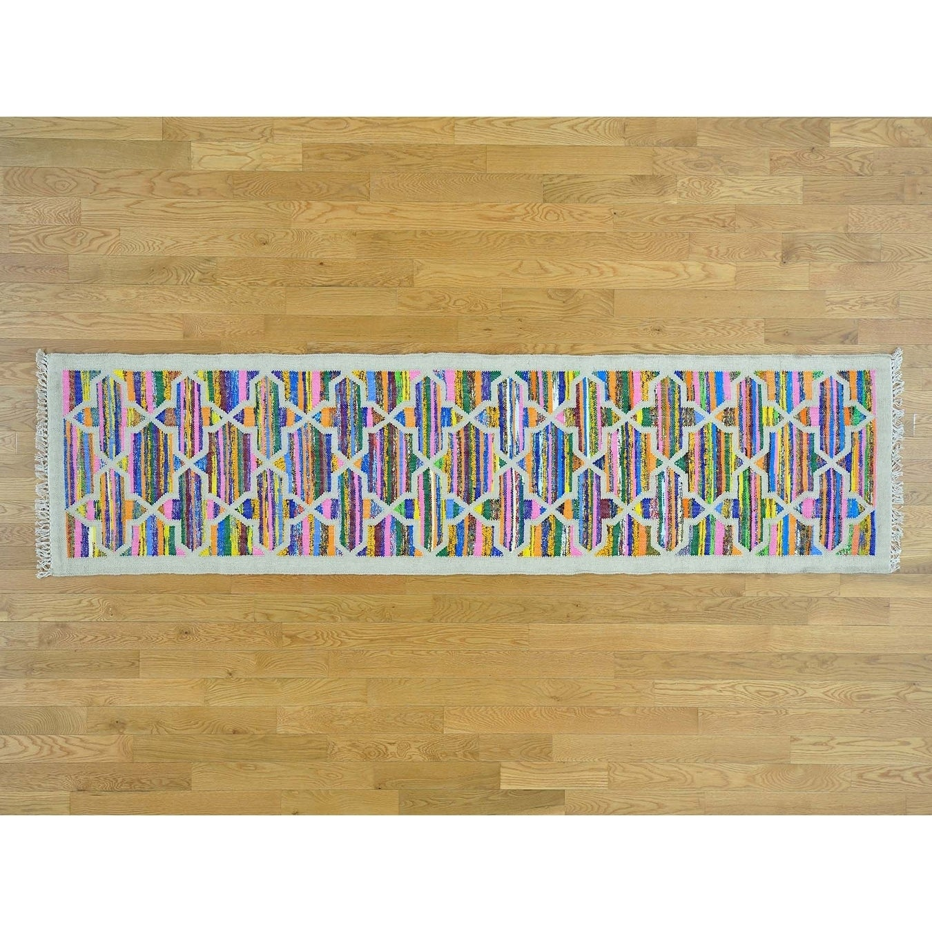 Hand Knotted Multicolored Flat Weave with Cotton Oriental Rug - 28 x 10