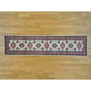 Hand Knotted Ivory Kazak with Wool Oriental Rug - 2'5 x 10'