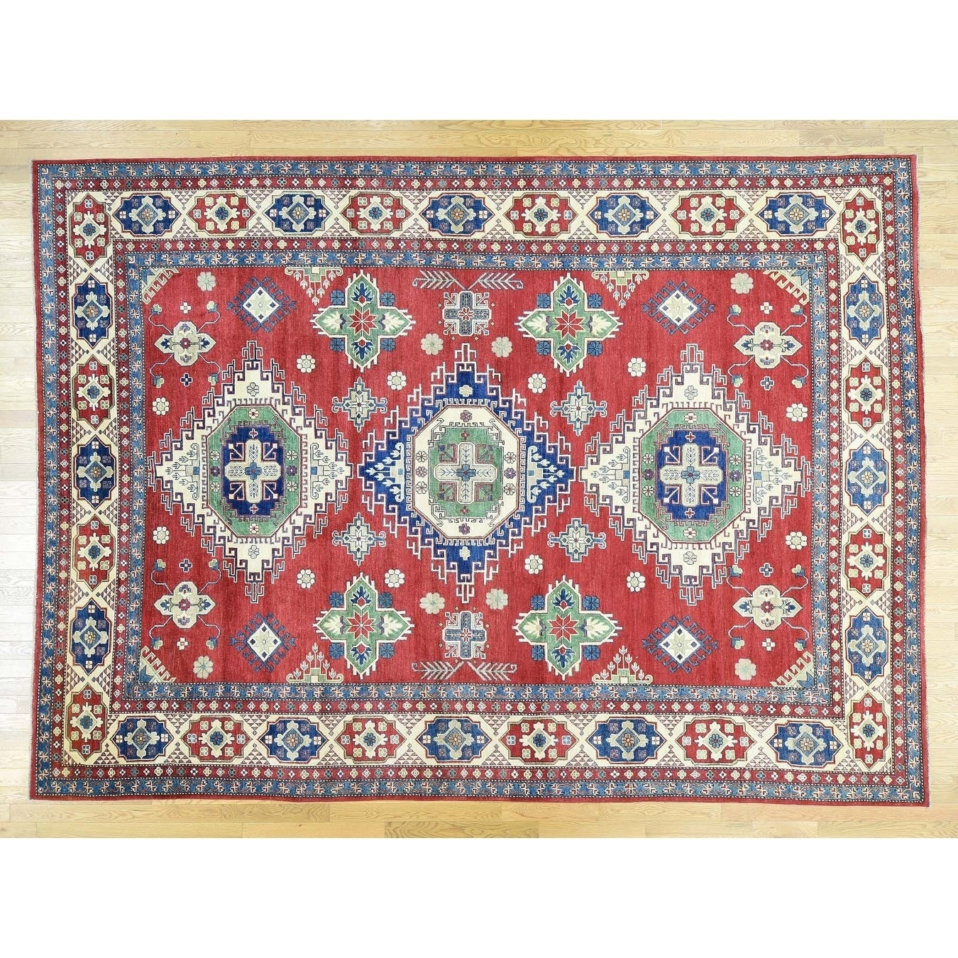Hand Knotted Red Kazak with Wool Oriental Rug - 10 x 138