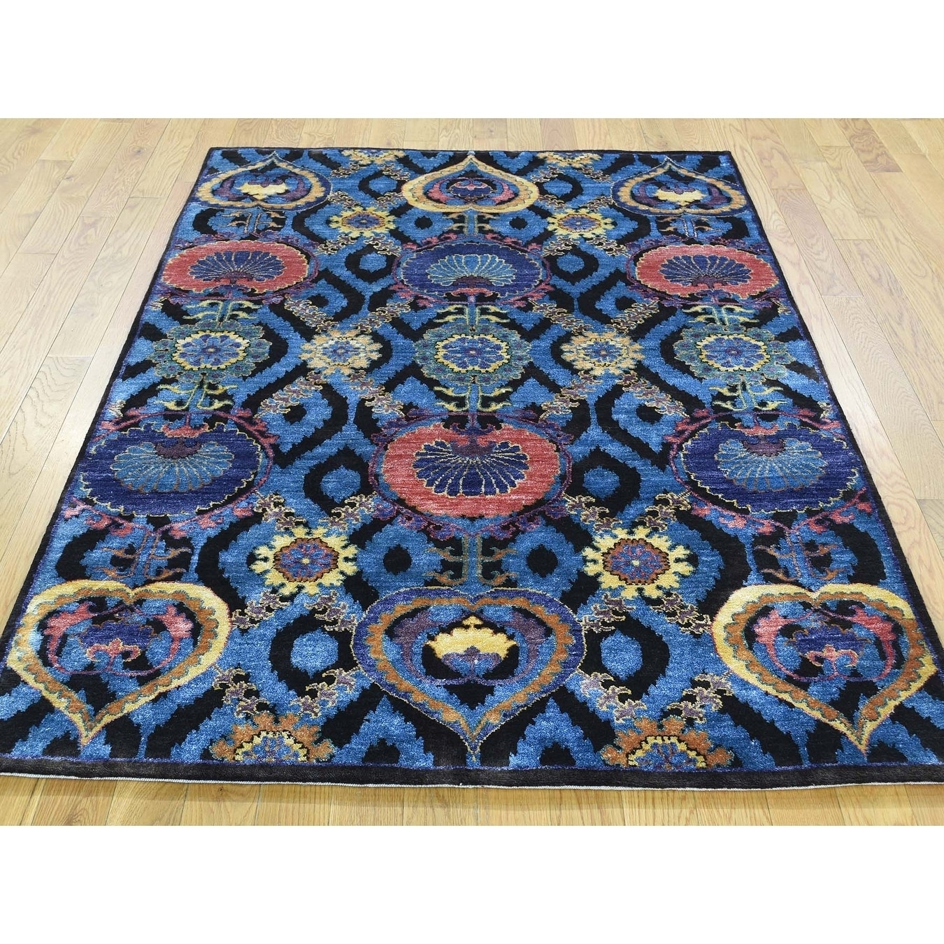 Hand Knotted Blue Arts And Crafts with Wool & Silk Oriental Rug - 4 x 6
